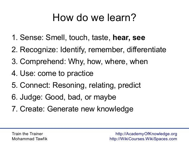 Train the Trainer Mohammad Tawfik http://AcademyOfKnowledge.org http://WikiCourses.WikiSpaces.com How do we learn? 1. Sens...