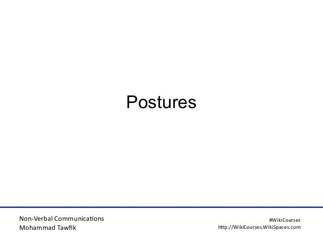 Non-Verbal Communicatons Mohammad Tawfi #WiiiCourses http:////WiiiCoursesWWiiiSpacesWcom Postures