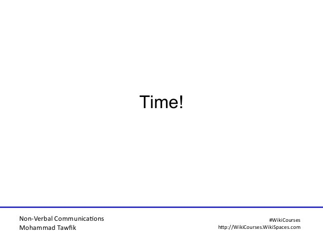 Non-Verbal Communicatons Mohammad Tawfi #WiiiCourses http:////WiiiCoursesWWiiiSpacesWcom Time!