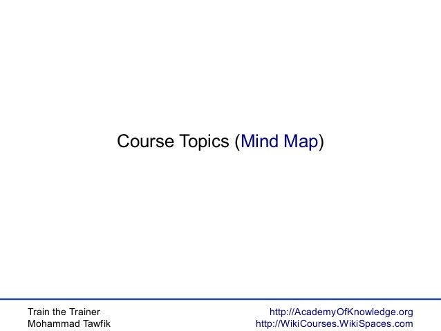 Train the Trainer Mohammad Tawfik http://AcademyOfKnowledge.org http://WikiCourses.WikiSpaces.com Course Topics (Mind Map)