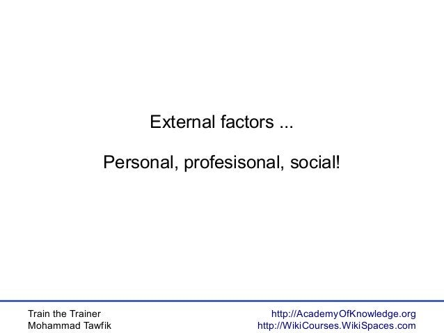 Train the Trainer Mohammad Tawfik http://AcademyOfKnowledge.org http://WikiCourses.WikiSpaces.com External factors ... Per...