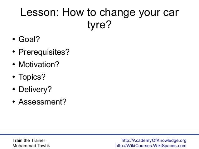 Train the Trainer Mohammad Tawfik http://AcademyOfKnowledge.org http://WikiCourses.WikiSpaces.com Lesson: How to change yo...