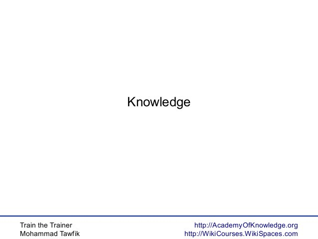 Train the Trainer Mohammad Tawfik http://AcademyOfKnowledge.org http://WikiCourses.WikiSpaces.com Knowledge