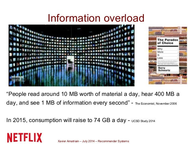 """Xavier Amatriain – July 2014 – Recommender Systems Information overload """"People read around 10 MB worth of material a day,..."""