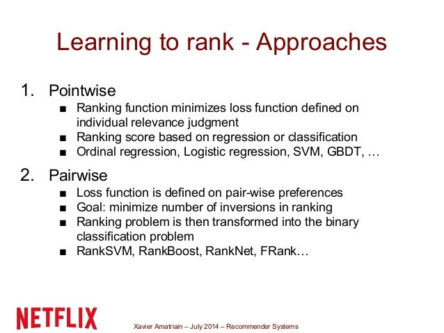 Xavier Amatriain – July 2014 – Recommender Systems Learning to rank - Approaches 1. Pointwise ■ Ranking function minimizes...