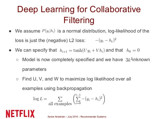 Xavier Amatriain – July 2014 – Recommender Systems Deep Learning for Collaborative Filtering ● We assume is a normal distr...