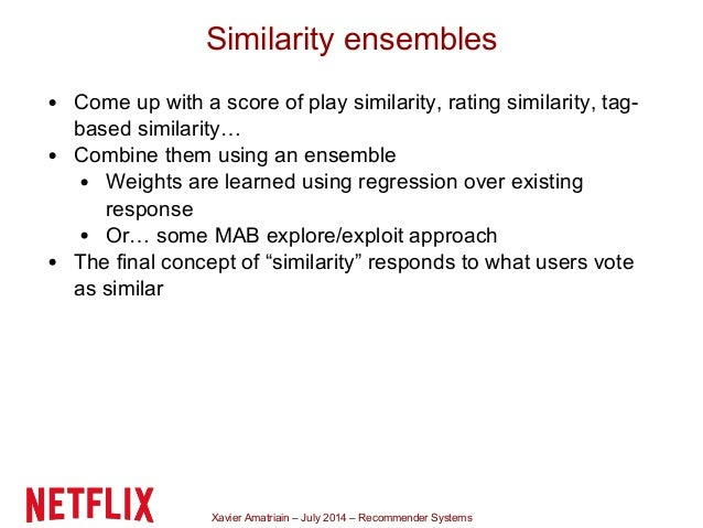 Xavier Amatriain – July 2014 – Recommender Systems Similarity ensembles Come up with a score of play similarity, rating si...