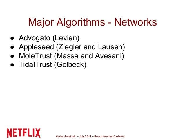 Xavier Amatriain – July 2014 – Recommender Systems Major Algorithms - Networks ● Advogato (Levien) ● Appleseed (Ziegler an...