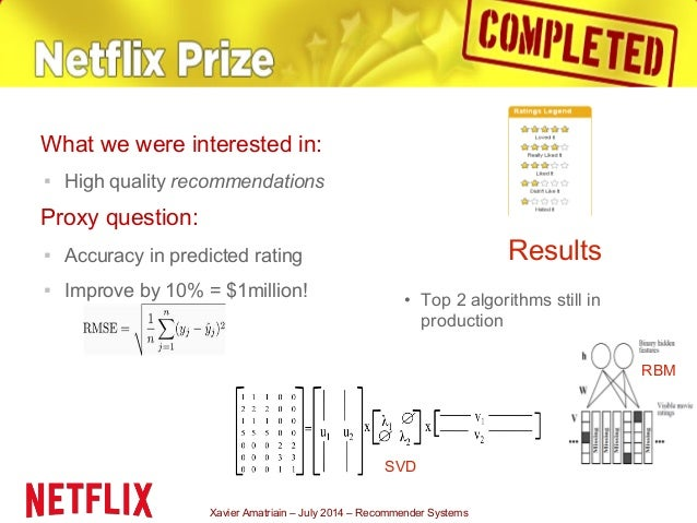 Xavier Amatriain – July 2014 – Recommender Systems What we were interested in: ▪ High quality recommendations Proxy questi...