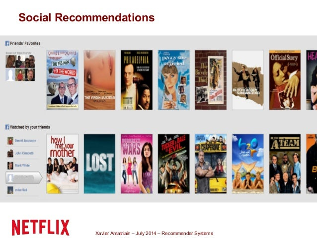 Xavier Amatriain – July 2014 – Recommender Systems Social Recommendations