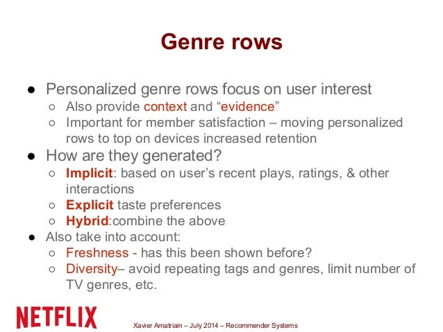 Xavier Amatriain – July 2014 – Recommender Systems Genre rows ● Personalized genre rows focus on user interest ○ Also prov...