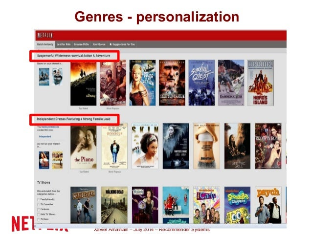Xavier Amatriain – July 2014 – Recommender Systems Genres - personalization