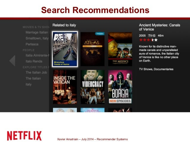 Xavier Amatriain – July 2014 – Recommender Systems Search Recommendations
