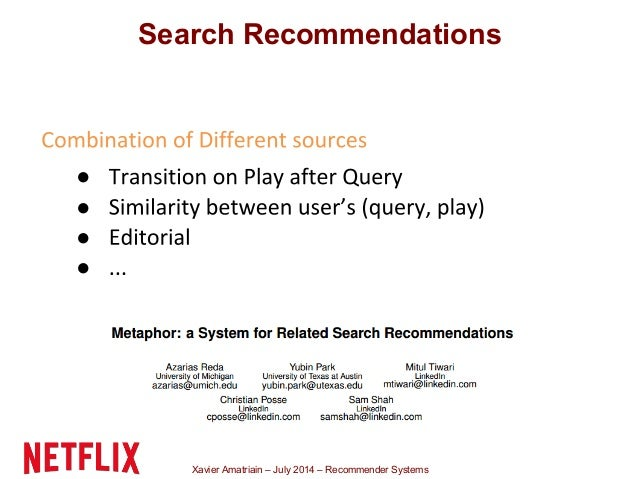Xavier Amatriain – July 2014 – Recommender Systems ● ● ● ● Search Recommendations