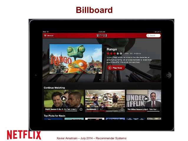 Xavier Amatriain – July 2014 – Recommender Systems Billboard