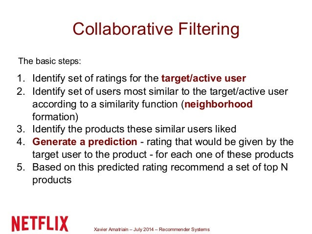Xavier Amatriain – July 2014 – Recommender Systems Collaborative Filtering The basic steps: 1. Identify set of ratings for...