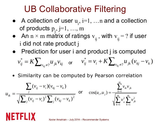 Xavier Amatriain – July 2014 – Recommender Systems UB Collaborative Filtering ● A collection of user ui , i=1, …n and a co...