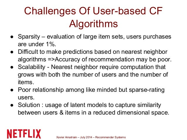 Xavier Amatriain – July 2014 – Recommender Systems Challenges Of User-based CF Algorithms ● Sparsity – evaluation of large...