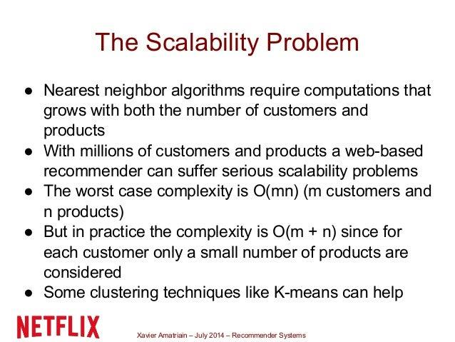 Xavier Amatriain – July 2014 – Recommender Systems The Scalability Problem ● Nearest neighbor algorithms require computati...
