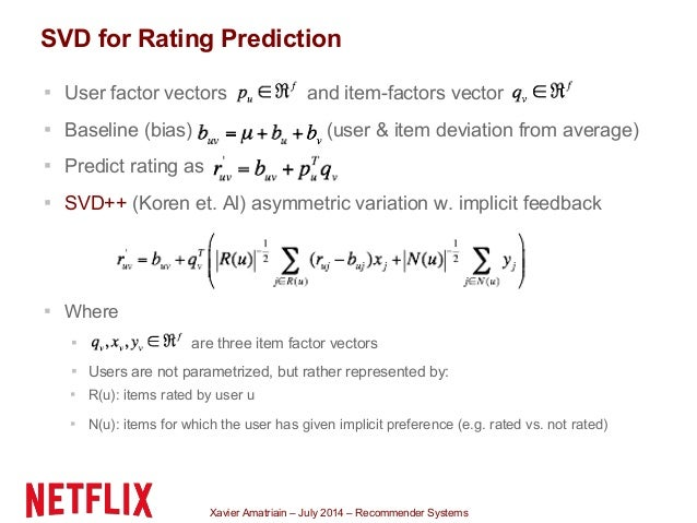 Xavier Amatriain – July 2014 – Recommender Systems ▪ User factor vectors and item-factors vector ▪ Baseline (bias) (user &...