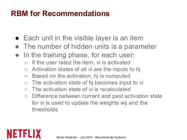 Xavier Amatriain – July 2014 – Recommender Systems RBM for Recommendations ● Each unit in the visible layer is an item ● T...