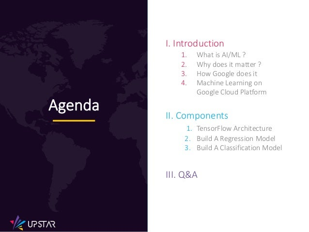 I. Introduction 1. What is AI/ML ? 2. Why does it matter ? 3. How Google does it 4. Machine Learning on Google Cloud Platf...