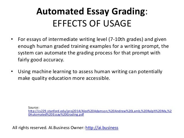 Automated essay scoring machine learning