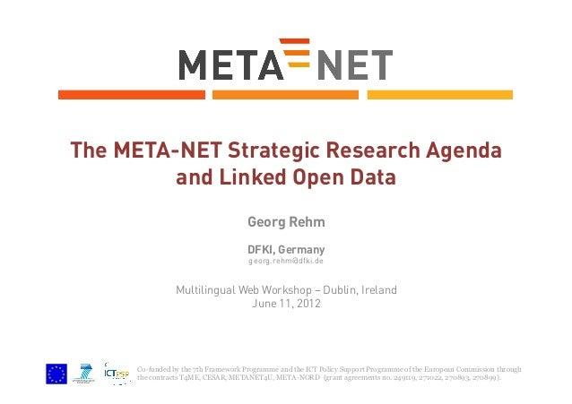 The META-NET Strategic Research Agenda and Linked Open Data Georg Rehm DFKI, Germany georg.rehm@dfki.de  Multilingual Web ...