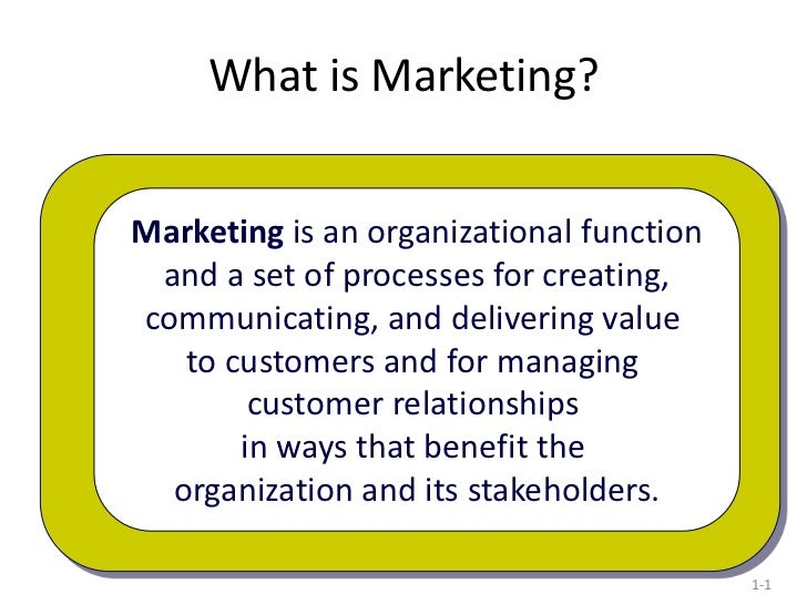What is Marketing?Marketing is an organizational function and a set of processes for creating,communicating, and deliverin...