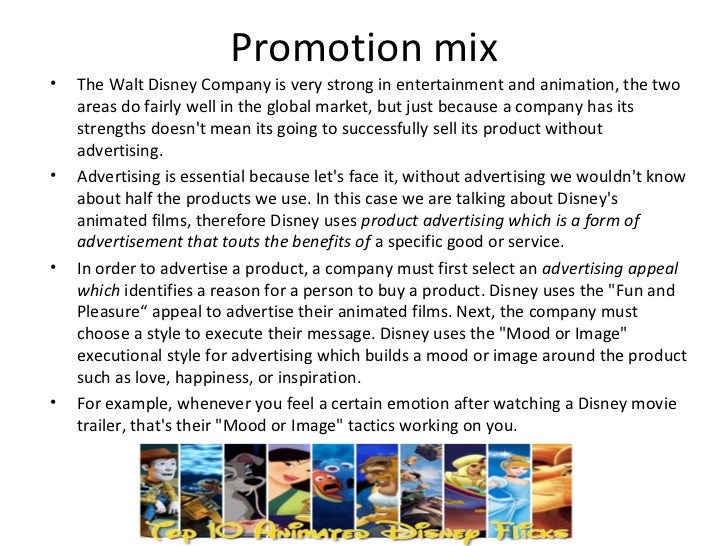 the marketing mix of disney world The mission of the walt disney company is to be one of the world's leading producers and providers of entertainment and information.