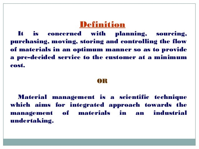 concept of material management