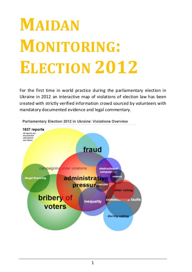 MAIDANMONITORING:ELECTION 2012For the first time in world practice during the parliamentary election inUkraine in 2012 an ...