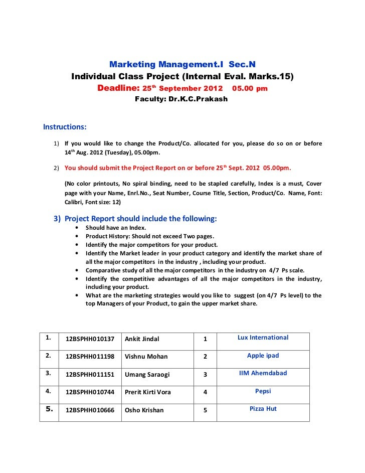 Marketing Management.I Sec.N          Individual Class Project (Internal Eval. Marks.15)                Deadline: 25th Sep...