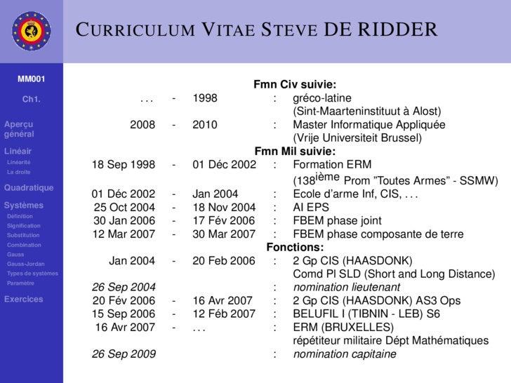 C URRICULUM V ITAE S TEVE DE RIDDER      MM001                                                     Fmn Civ suivie:      Ch...