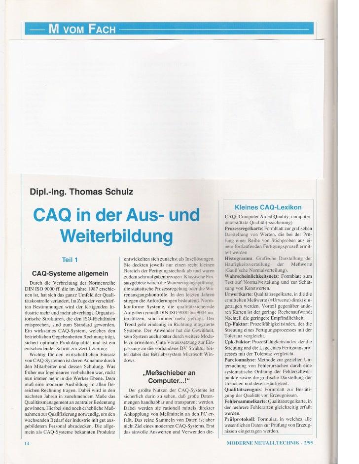CAQ in der Aus- und Weiterbildung - Teil 1