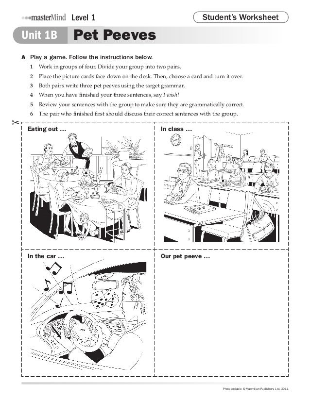 Level 1                                               Student's Worksheet    Unit 1B             Pet Peeves    A Play a g...