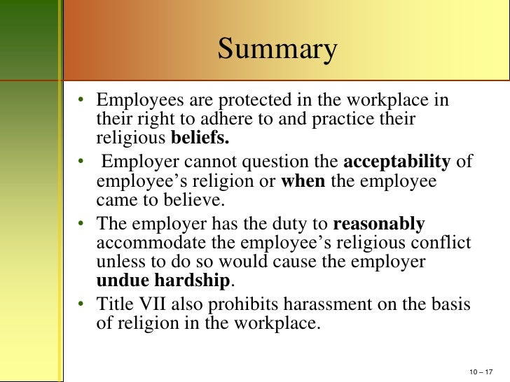 mm411 chapter 10 religious discrimination power point outline