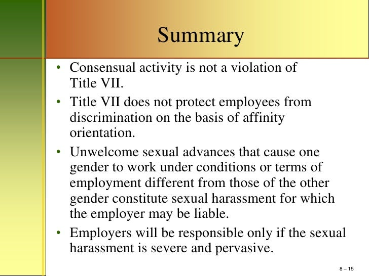 Definition Of Sexual Harassment Under Title Vii