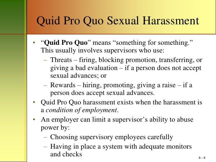Quid pro quo sexual harassment article