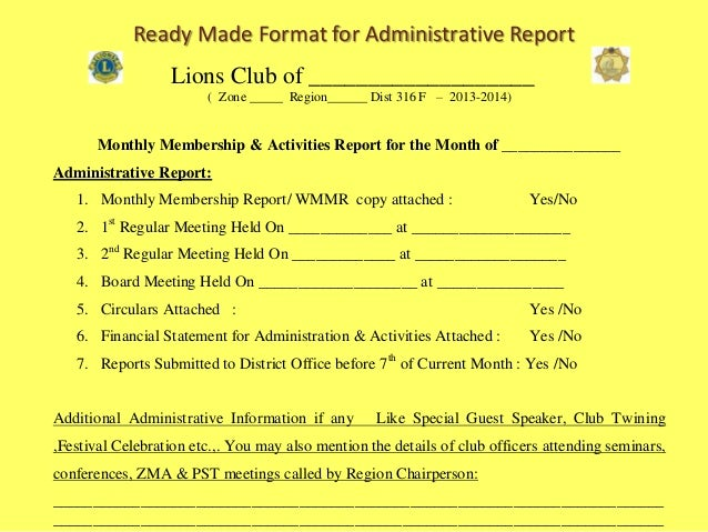 Lions Club  Monthly Membership  Service Activities Report To Distri