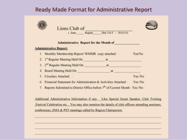 For Lions Clubs - Reporting the administrative and service