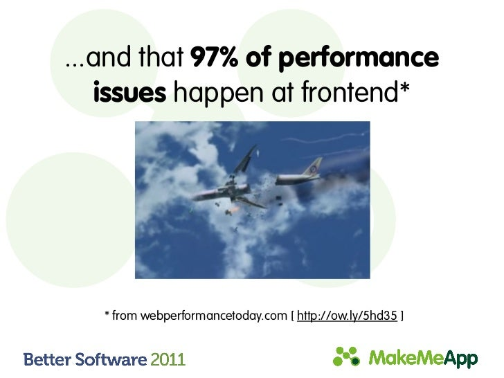 ...and that 97% of performance    issues happen at frontend*   * from webperformancetoday.com [ http://ow.ly/5hd35 ]