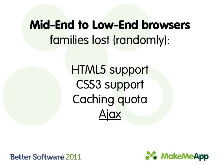 Mid-End to Low-End browsers   families lost (randomly):       HTML5 support        CSS3 support       Caching quota       ...