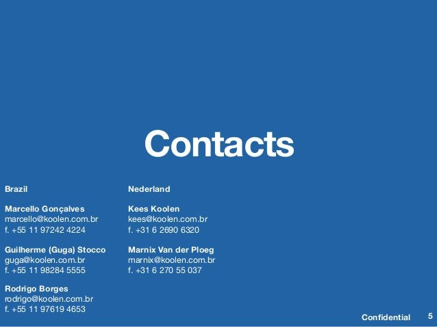 Confidential Contacts Confidential  5 Brazil  Marcello Gonçalves marcello@koolen.com.br f. +55 11 97242 4224  Guilherme (Gug...