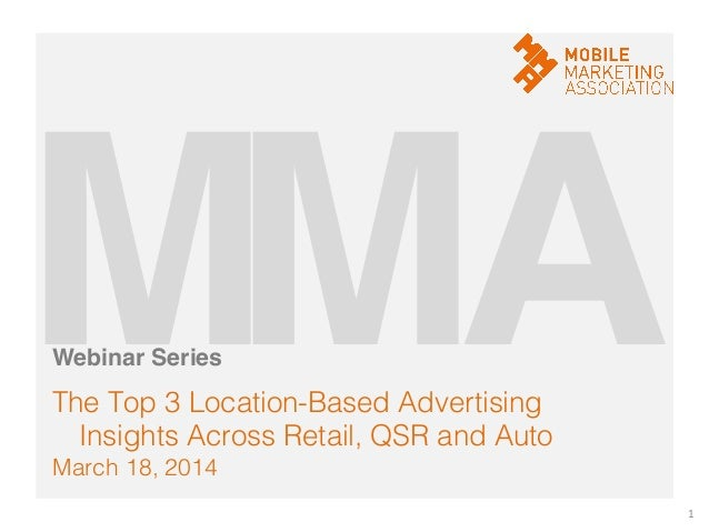 March 18, 2014! The Top 3 Location-Based Advertising Insights Across Retail, QSR and Auto! 1	    M!A!M!Webinar Series!