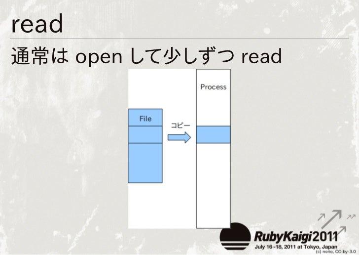 read通常は open して少しずつ read