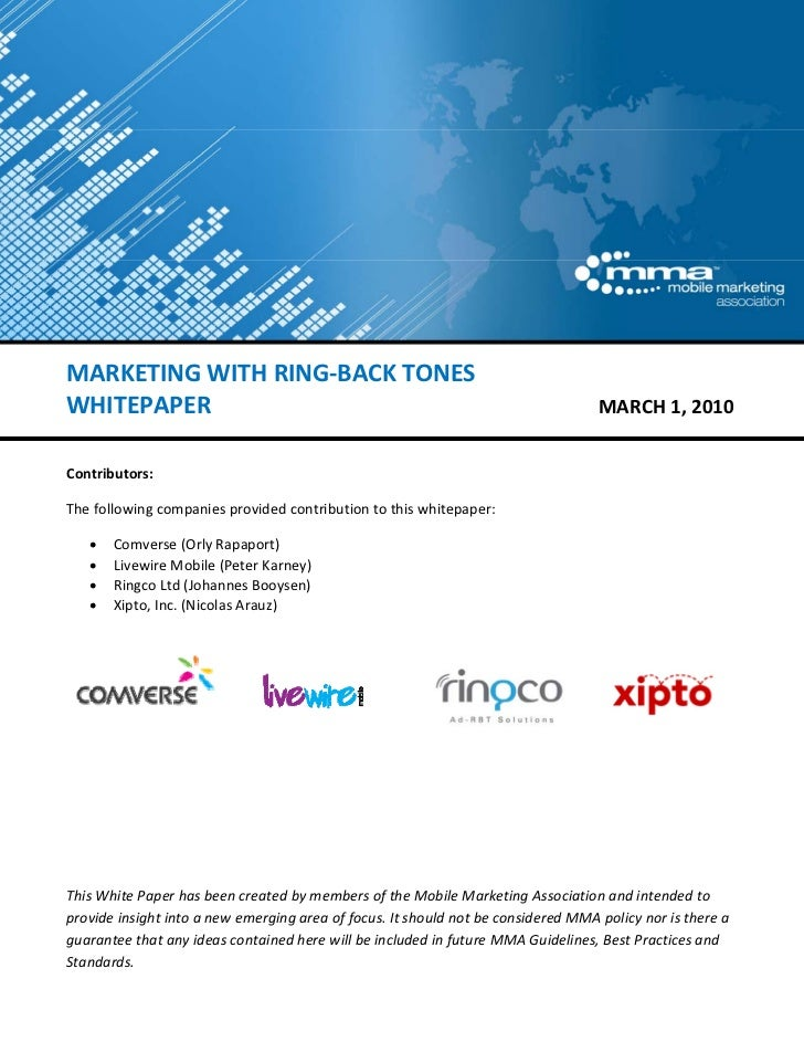 MARKETING WITH RING‐BACK TONES WHITEPAPER                                                                         ...