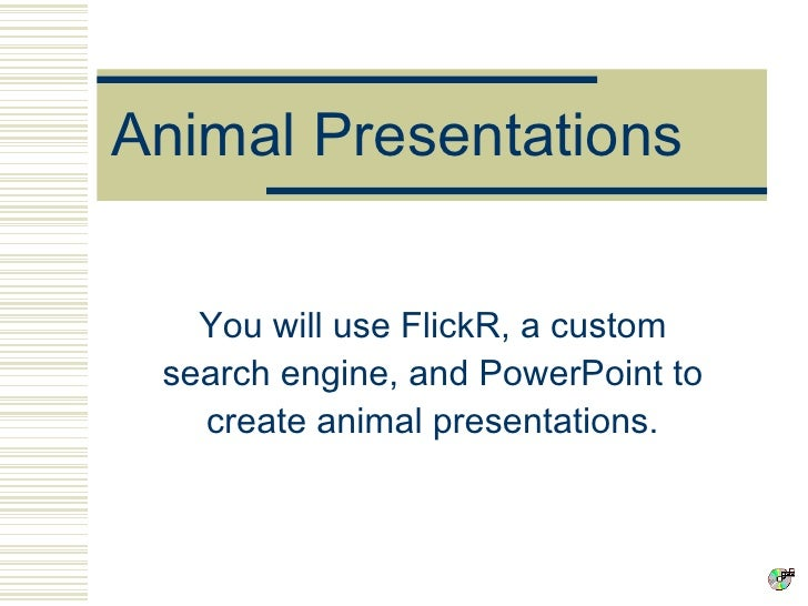 Animal Presentations You will use FlickR, a custom search engine, and PowerPoint to create animal presentations.