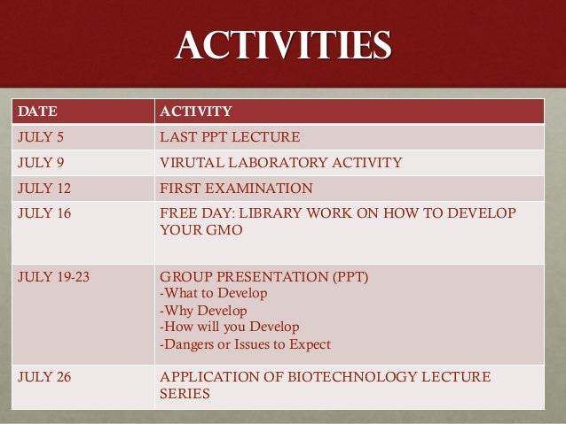 ACTIVITIES DATE ACTIVITY JULY 5 LAST PPT LECTURE JULY 9 VIRUTAL LABORATORY ACTIVITY JULY 12 FIRST EXAMINATION JULY 16 FREE...