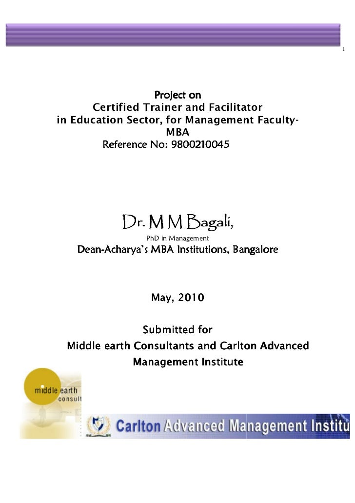 1                   Project on      Certified Trainer and Facilitatorin Education Sector, for Management Faculty-         ...